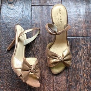 kate spade ♠️ Coppery Golden Bow Slingback Sandals